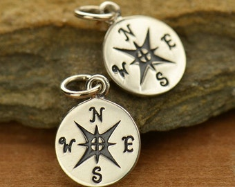 Sterling Silver Compass Charm-Journey-Graduation-back to school -travelers