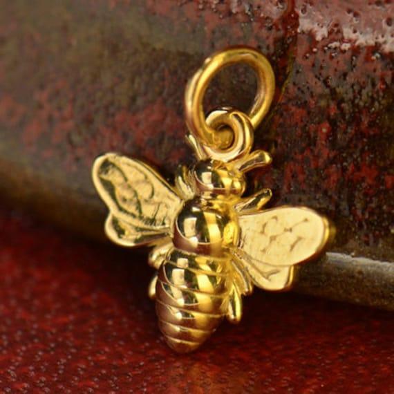 Honeybee Charm Bumblebee Charm Gold Bee Bee Charm 14k