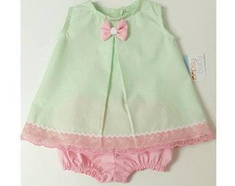 Mint Spring Baby Girl Set - Baby Girl Dress - Toddler Dress -Baby Girl Outfit- Baby Girl Set- Mint Dress- Baby Dress 3M-9M