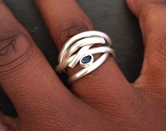Sterling Silver Statement Ring with Sapphire stone, Silver Ring, Large Silver Ring, Modern Design, Handmade Silver Ring, Unique Silver Ring