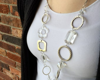 Crystal Clear Flower Lanyard Necklace
