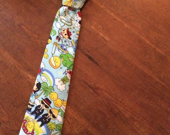 Anime Men in Black Japanese Comic Fabric Hand Made Tie