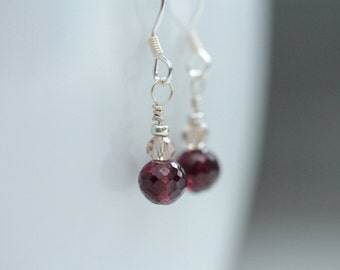 gifts for grads / tiny garnet earrings / spring garnet jewelry / small dangle earring / tiny drop earring / last minute gift #1255