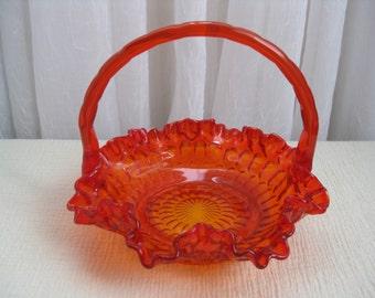 Vintage 1960's Thumbprint Colonial Orange Glass Handled Basket Fenton