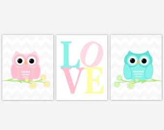 Twins Baby Nursery Wall Art Pink Aqua Teal Yellow Owls Nursery Decor Baby Girl Baby Boy Nursery Wall Decor Baby Nursery Decor Owl Prints Art