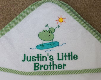 Personalized Terry Cloth Hooded Bath Towel - Surfing Frog