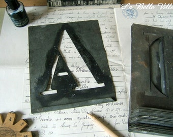 Vintage French alphabet stencil - Large zinc letter - Metal template - Initial C, F, G, J, K, M, N, O, Q, X
