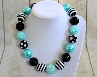 chunky bubblegum bead necklace for girls aqua black white birthday necklace Christmas necklace pearl rhinestone back to school necklace girl