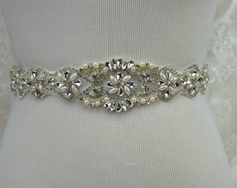 Wedding Belt, Bridal Belt, Sash Belt, Crystal Rhinestone Belt, Ivory Sash