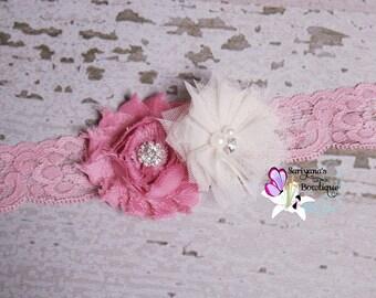 Dusty Rose Pink Ivory Shabby Flower Tulle Rhinestone Lace Headband, Baby Headband, Flower Girl, Vintage - SB-040