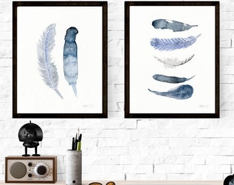 Blue minimalist feather giclee art prints from watercolor paintings by Annemette Klit | Home decor art | Modern contemporary wall art prints