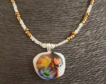 Blue and yellow Dichroic Pendant and Beaded Necklace with Rose Flower Clasp