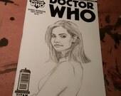 Clara Oswald Doctor Who Original Custom Sketch Cover Comic Art by Metal Hand