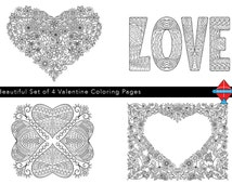 Set of 4 Valentine Coloring Pages - Zentangle Inspired Printable PDF