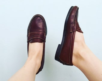 Brown Leather Loafers | 6.5 US / 37 Eur / 4.5 UK | Womens | Dexter | Made in USA | Penny | Shoes | Flats | Minimal | Vintage | 80s 90s