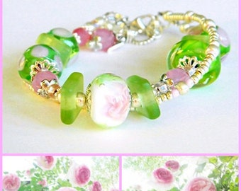 Romantic Bohemian Lampwork bracelet Pink Green Lampwork bracelet Boho wedding jewelry Rose Garden Glass bead bracelet Wedding bracelet