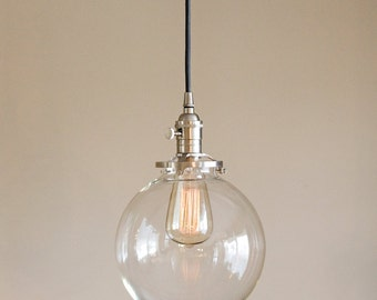 "Clear Glass Globe Pendant Light Fixture with 8"" Shade Hand Blown Glass"