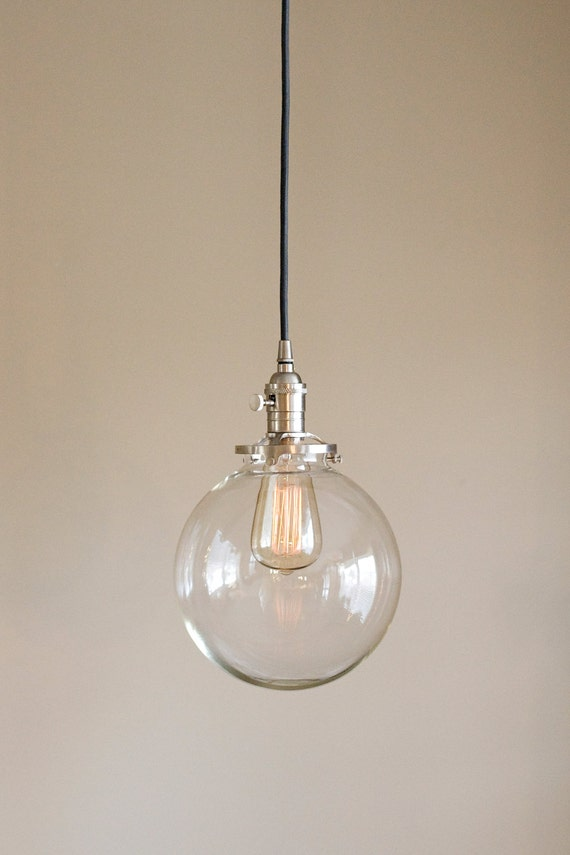 clear glass globe pendant light fixture with by oldebricklighting. Black Bedroom Furniture Sets. Home Design Ideas