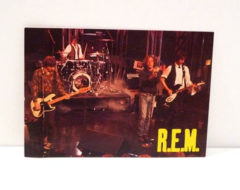 R.E.M. Postcard 1980s Live in Concert REM Michael Stipe Peter Buck Mike Mills Bill Berry Cult Images unused FreeUS Ship