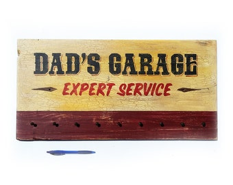 Dad's Garage tool rack hand painted