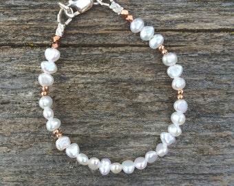 Pearl and Rose gold Baby bracelet, baptism gift, baby girl gift, little girl jewelry, christening gift