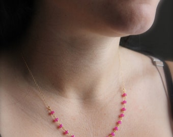 gold vermeil rosary chain necklace with neon pink gemstome beads