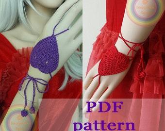 Crochet Heart Wristlet fingerless glover Barefoot Sandals - PDF pattern - size Free