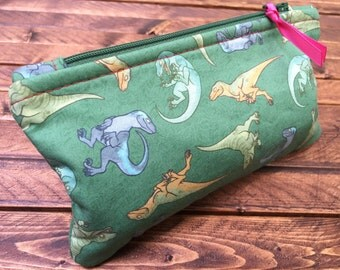 Patterned Zipper Pouches - Raptor Squad