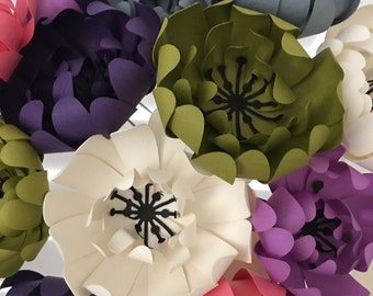 Set of 12 Paper Flowers Centerpiece bouquet Wedding Party Card Gift Tag