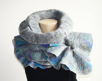 Fashion scarf Wool Felted Scarf Art Gray (Grey) Nuno felted Winter Accessories For you For best friend