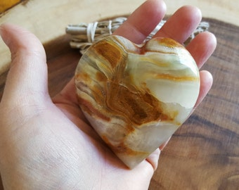 Pakistani Onyx Heart ~ One Reiki Infused gemstone heart approx 3 x 3 inches (H04)