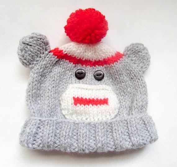 Knitting Pattern For Sock Monkey Booties : Knitting Pattern Sock Monkey Beanie Booties Mittens Pattern Bundle Animal Hat...