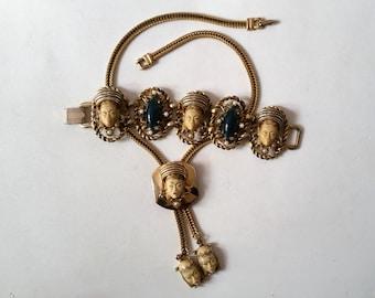 Selro Selini Asian Princess Lariat Necklace and Bracelet Set Cream Faces Dark Green Cabochons