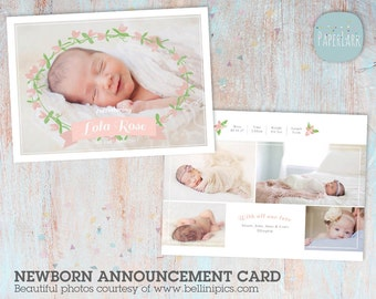 Baby Announcement Card - Baby Thank You Card Template for Baby Girl - AN013 - INSTANT DOWNLOAD