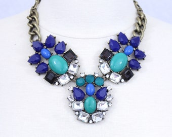 Blue and Green Statement Necklace Multi Color Chunky Necklace Bib Necklace