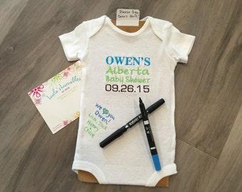 Baby shower shirt, guest book alternative