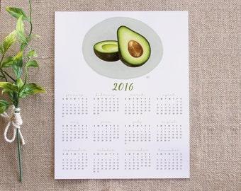 8x10 2016 Calendar / Featuring my Avocado illustration