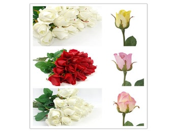 Ship from GA-24 stems of Real Touch Premium quality roses (pick colors)