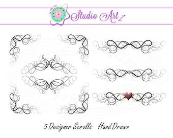 Fancy Scroll Clip Art, Clip Art Swirls, Instant Download, Digital Art, Transparent Background, Zip File, Flourishes
