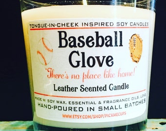 Father's Day Candle- Baseball Glove- Baseball Mitt- Leather Scented Soy Candle- All Natural - 8oz - Dad Father's Day Gifts- Dad Candle Manca