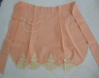 Retro crocheted gingham apron with pocket, 1960's