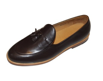 Smythe and Digby Men's Handmade Brown Leather Tassel Belgian Loafers
