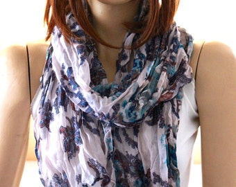 Flowers print cotton shawl scarf. Woman Scarves. summer shawl - summer scarf - cotton scarves - flowers scarves - women shawl - spring scarf