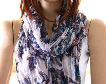 Flowers print cotton shawl scarf. Woman Scarves. summer shawl - summer scarf - cotton scarves - flowers scarves - women shawl - spring scarf
