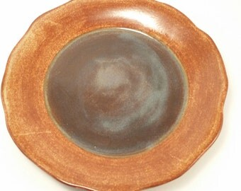Handmade Pottery Ceramic Platter - handmade serving platter in ceramic pottery stoneware clay with iron red and purple glaze.