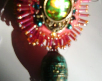 Beaded Ornament on Salmon colored ribbon with an Opal like stone