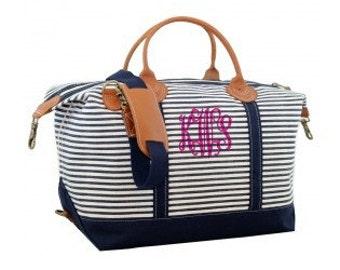 Monogrammed Weekender Duffle Bag - Navy Stripes