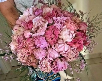 Dried Floral Bridal Bouquet - Elegant Bouquet - Romantic Wedding Bouquet - Light Pink Peonies Bouquet NO2