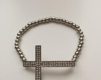 Beaded cross bracelet/ Sideways Cross bracelet/ Cross bracelet