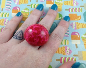 Cupcake sprinkle hearts dome ring
